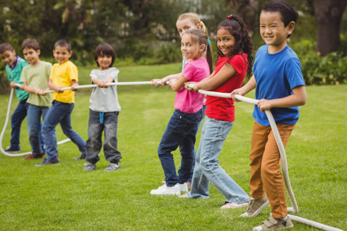 Outdoor games in kids everyday life